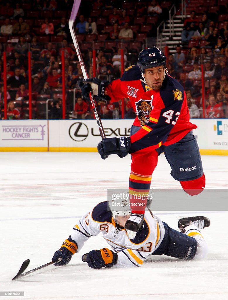 Mike Weaver #43 of the Florida Panthers jumps over Tyler Ennis #63 of the Buffalo Sabres after taking a shot at the BB&T Center on October 25, 2013 in Sunrise, Florida.