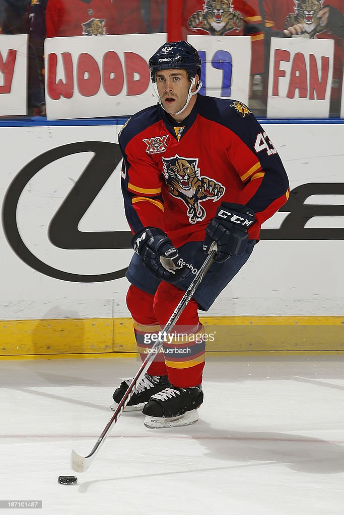 Mike Weaver #43 of the Florida Panthers skates with the puck prior to the game against the Edmonton Oilers at the BB&T Center on November 5, 2013 in Sunrise, Florida. The Oilers defeated the Panthers 4-3 in overtime.