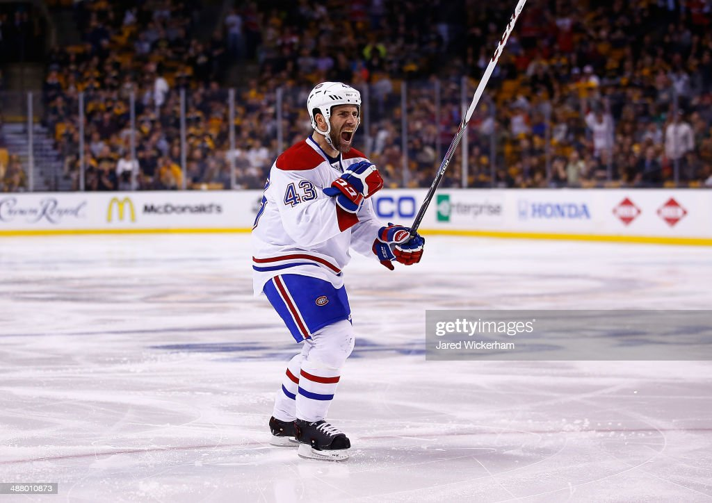 Mike Weaver of the Montreal Canadiens celebrates his goal in the second period against the Boston Bruins in Game Two of the Second Round of the 2014...