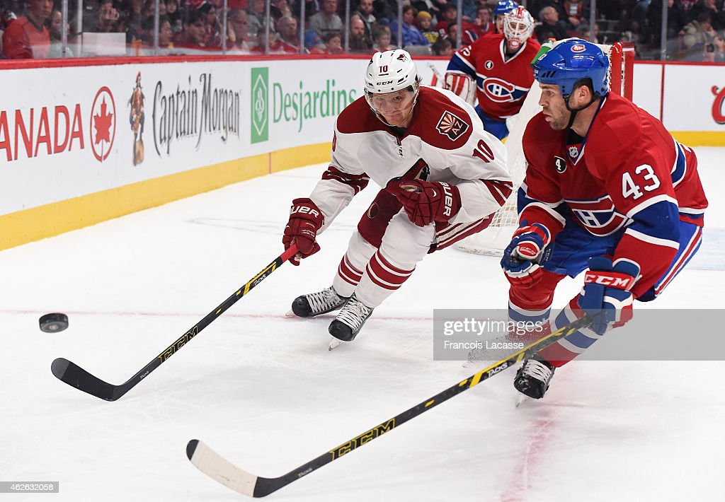 Mike Weaver of the Montreal Canadiens fights for the puck against Martin Erat of the Phoenix Coyotes in the NHL game at the Bell Centre on February 1...