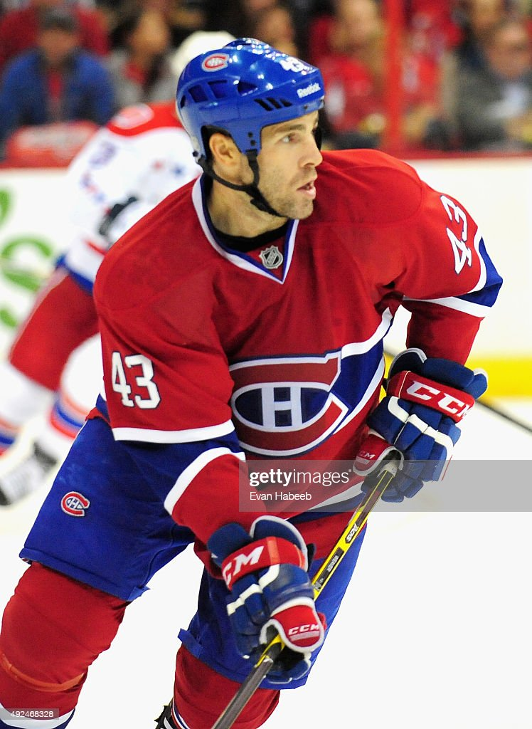 Mike Weaver of the Montreal Canadiens plays against the Washington Capitals during the game at Verizon Center on October 9 2014 in Washington DC