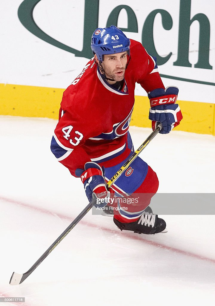 Mike Weaver of the Montreal Canadiens plays in the game against the Detroit Red Wings at the Bell Centre on October 21 2014 in Montreal Quebec Canada