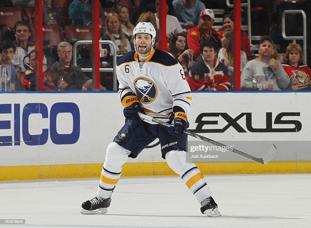 Mike Weber #6 of the Buffalo Sabres defends against the Florida Panthers during a penalty in the second period at the BB&T Center on February 28, 2013 in Sunrise, Florida.