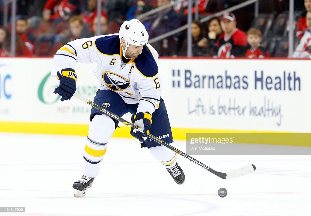 <a gi-track='captionPersonalityLinkClicked' href=/galleries/search?phrase=Mike+Weber+-+Ice+Hockey+Player&family=editorial&specificpeople=10833386 ng-click='$event.stopPropagation()'>Mike Weber</a> #6 of the Buffalo Sabres in action against the New Jersey Devils at the Prudential Center on February 17, 2015 in Newark, New Jersey. The Devils defeated the Sabres 2-1 after a shootout.