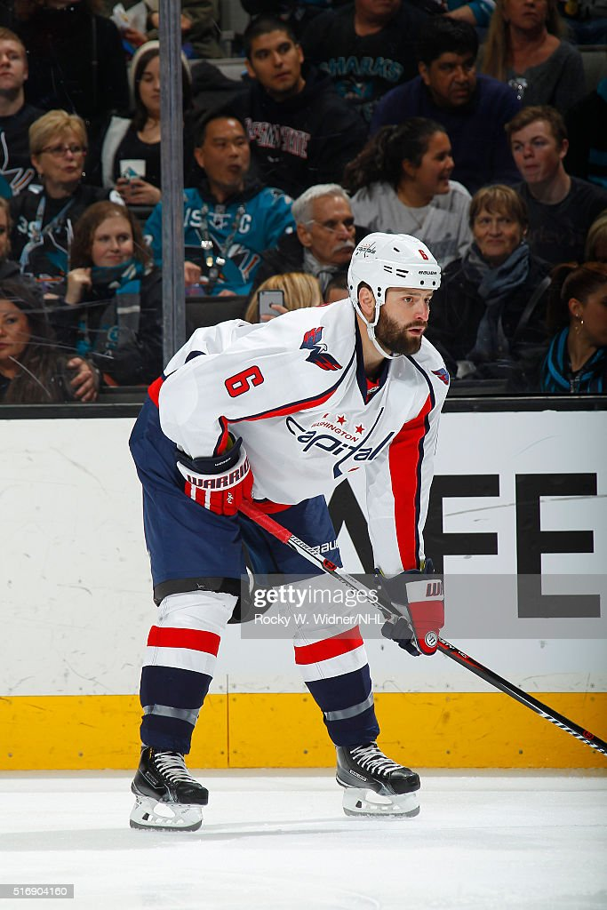 <a gi-track='captionPersonalityLinkClicked' href=/galleries/search?phrase=Mike+Weber+-+Ice+Hockey+Player&family=editorial&specificpeople=10833386 ng-click='$event.stopPropagation()'>Mike Weber</a> #6 of the Washington Capitals skates against the San Jose Sharks at SAP Center on March 12, 2016 in San Jose, California.