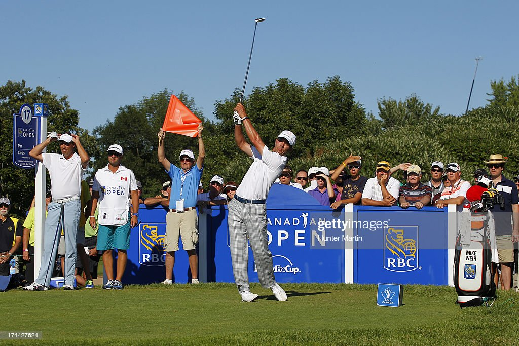 <a gi-track='captionPersonalityLinkClicked' href=/galleries/search?phrase=Mike+Weir&family=editorial&specificpeople=182540 ng-click='$event.stopPropagation()'>Mike Weir</a> hits his tee shot on the 17th hole during round one of the RBC Canadian Open at Glen Abby Golf Club on July 25, 2013 in Oakville, Ontario.