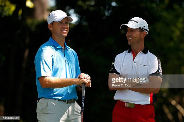 Mike Weir of Canada and amateur Sammy Schmitz stand on the second tee during the first round of the 2016 Masters Tournament at Augusta National Golf...