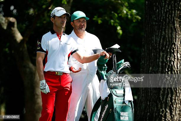 Mike Weir of Canada and caddie Danny Sahl stand on the second tee during the first round of the 2016 Masters Tournament at Augusta National Golf Club...