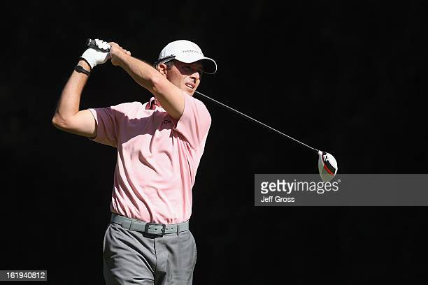 Mike Weir of Canada hits a shot during the first round of the Northern Trust Open at Riviera Country Club on February 14 2013 in Pacific Palisades...