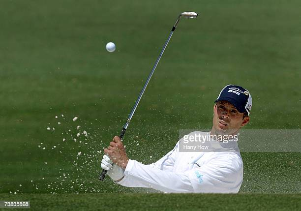 Mike Weir of Canada plays a bunker shot on the second hole during the third round of The Masters at the Augusta National Golf Club on April 7 2007 in...