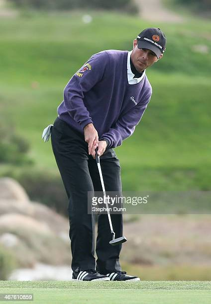 Mike Weir of Canada plays a putt during the first round of the ATT Pebble Beach National ProAm at Monterey Peninsula Country Club on February 6 2014...