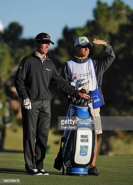 Mike Weir of Canada plays a shot on the first hole during the second round of the Shriners Hospitals for Children Open at TPC Summerlin on October 18...