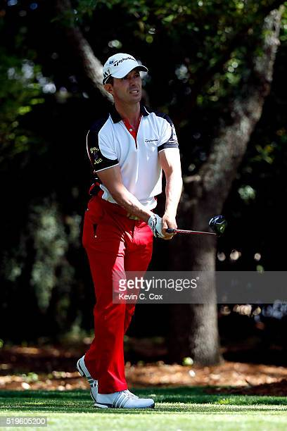 Mike Weir of Canada plays his shot from the second tee during the first round of the 2016 Masters Tournament at Augusta National Golf Club on April 7...