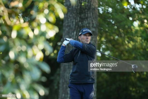Mike Weir of Canada plays his shot from the second tee during the first round of the 2017 Masters Tournament at Augusta National Golf Club on April 6...