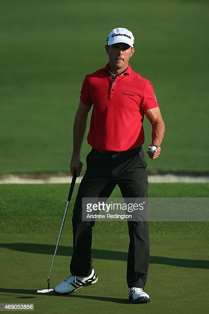 Mike Weir of Canada reacts on the second green during the first round of the 2015 Masters Tournament at Augusta National Golf Club on April 9 2015 in...