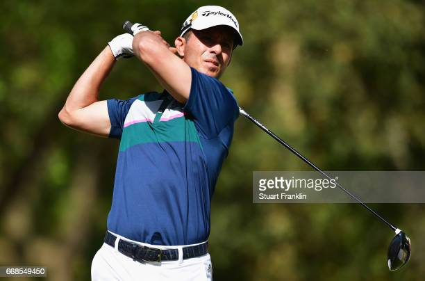 Mike Weir of Canada tees off during day 2 of the Trophee Hassan II at Royal Golf Dar Es Salam on April 14 2017 in Rabat Morocco
