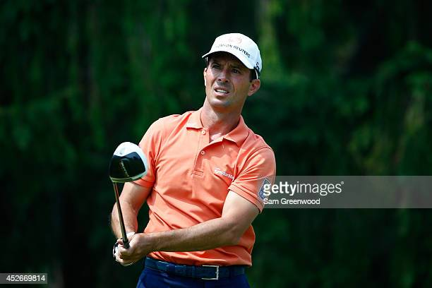 Mike Weir of Canada tees off on the eighth hole during the second round of the RBC Canadian Open at the Royal Montreal Golf Club on July 25 2014 in...