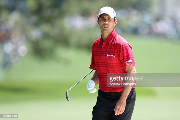 Mike Weir of Canada watches his shot to the first green during the second round of the 2010 Masters Tournament at Augusta National Golf Club on April...