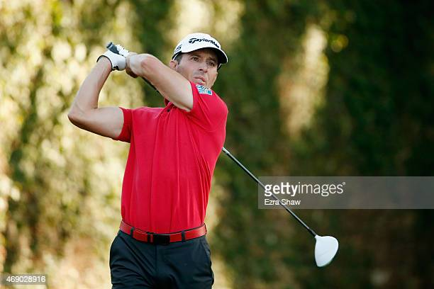 Mike Weir of Canada watches his tee shot on the second hole during the first round of the 2015 Masters Tournament at Augusta National Golf Club on...