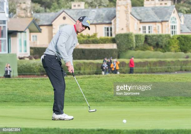 Mike Weir taps in his ball on the 18th hole during the second round of the ATT Pebble Beach ProAm in Pebble Beach CA on Friday February 10 2017