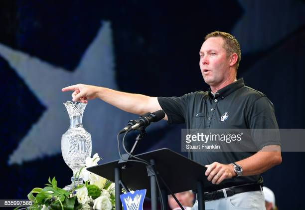 Mike Whan LPGA Commisioner speaks during the closing ceremony after the final day singles matches of The Solheim Cup at Des Moines Golf and Country...