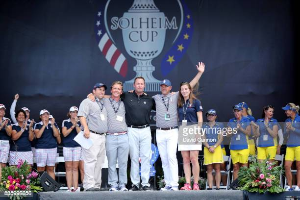 Mike Whan the Commissionerof the LPGA recognises the staff who put on the matches Drew Blass Charlie Smith Chris Garrett and Erin Gassbarro at the...