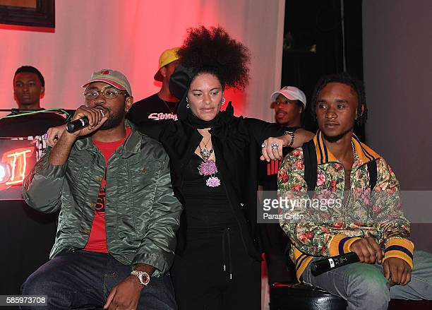 Mike Will Made It Mali Hunter and Slim Jimmy on stage at 'SremmLife 2' private listening session at TreeSound Studios on August 3 2016 in Norcross...