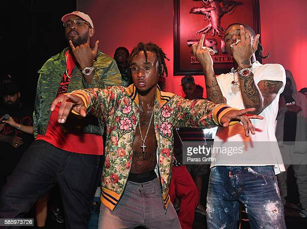 Mike Will Made It with Slim Jimmy and Swae Lee of Rae Sremmurd on stage at 'SremmLife 2' private listening session at TreeSound Studios on August 3...
