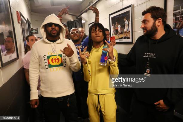 Mike WiLL MadeIt Slim Jxmmi Swae Lee and Zach Iser backstage at Barclays Center on June 6 2017 in New York City