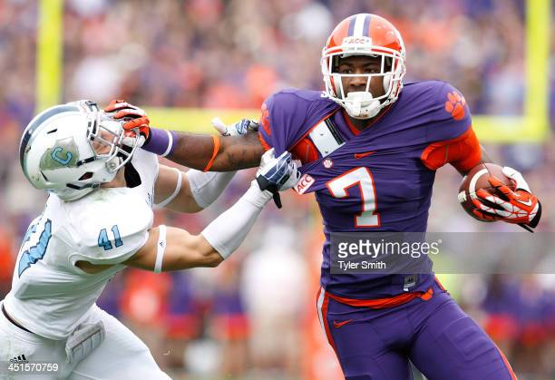 Mike Williams of the Clemson Tigers blocks Walker Smith of the Citadel Bulldogs during the game at Memorial Stadium on November 23 2013 in Clemson...