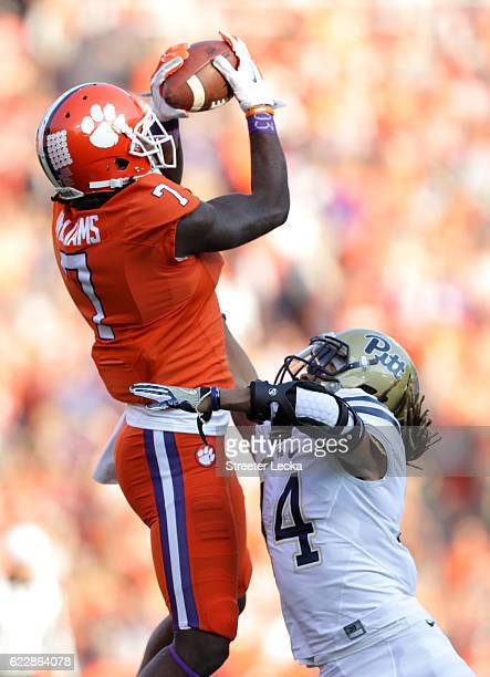 Mike Williams of the Clemson Tigers makes a catch over Avonte Maddox of the Pittsburgh Panthers during their game at Memorial Stadium on November 12...