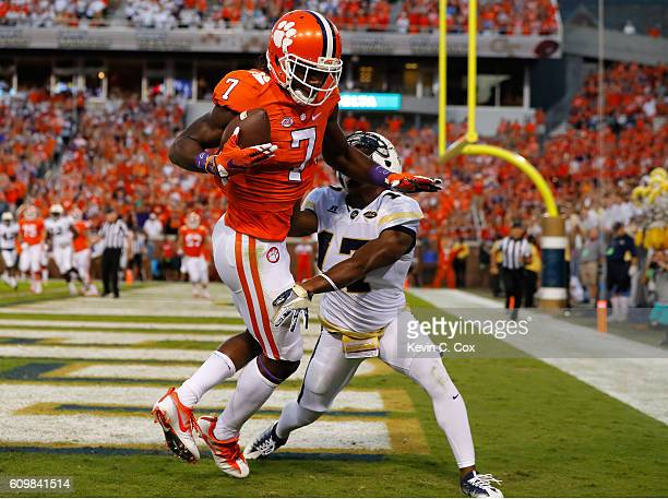 Mike Williams of the Clemson Tigers pulls in this touchdown reception against Lance Austin of the Georgia Tech Yellow Jackets at Bobby Dodd Stadium...