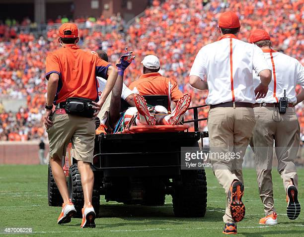 Mike Williams of the Clemson Tigers waves to the fans after being injured on a play during the game against the Wofford Terriers at Clemson Memorial...