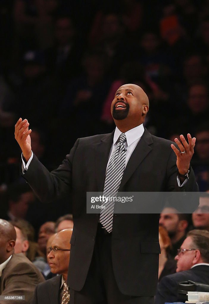 Mike Woodson head coach of the New York Knicks during their game at Madison Square Garden on January 17 2014 in New York City NOTE TO USER User...