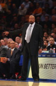 Mike Woodson head Coach of the New York Knicks looks on against the Milwaukee Bucks during their game at Madison Square Garden on October 30 2013 in...