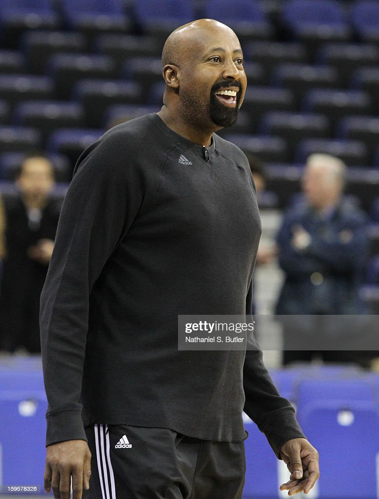 Mike Woodson, Head Coach of the New York Knicks responds to a team drill during practice at the O2 Arena on January 16, 2013 in London, England.