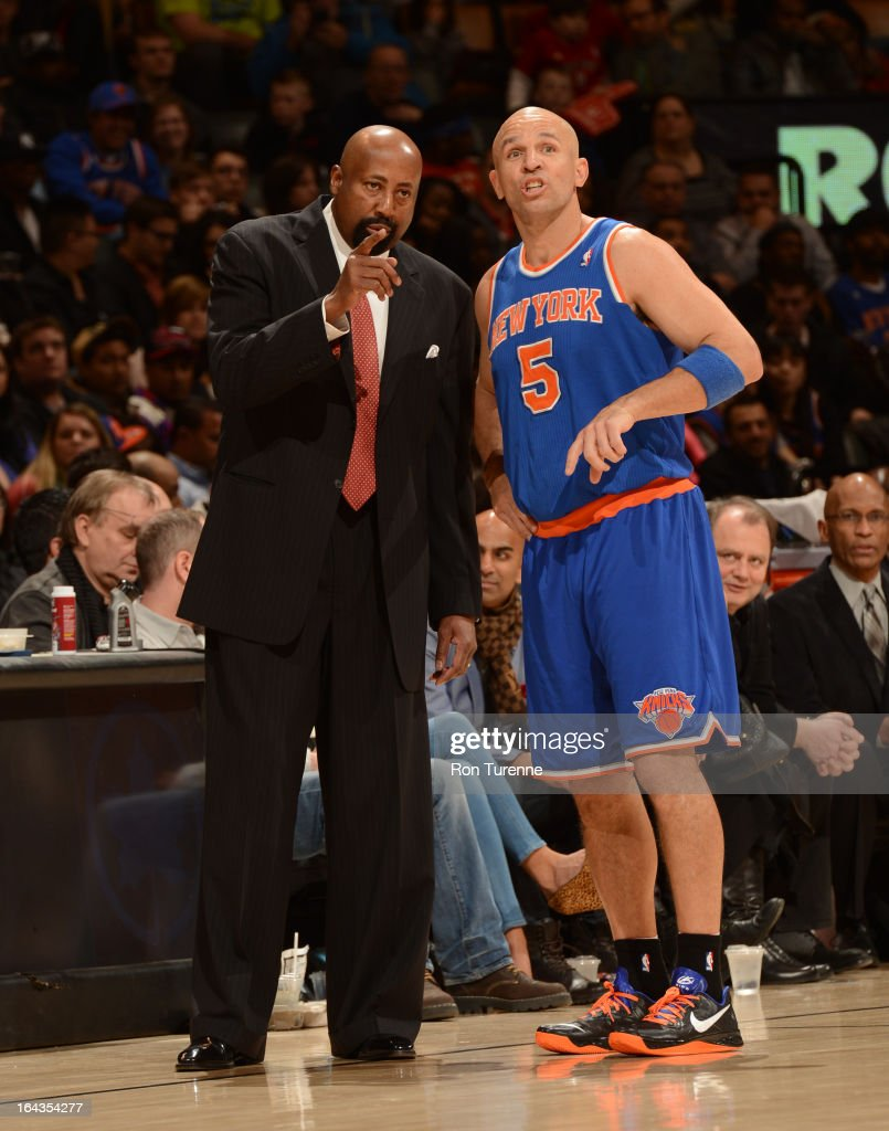 <a gi-track='captionPersonalityLinkClicked' href=/galleries/search?phrase=Mike+Woodson&family=editorial&specificpeople=213194 ng-click='$event.stopPropagation()'>Mike Woodson</a>, Head Coach of the New York Knicks, shares a word with <a gi-track='captionPersonalityLinkClicked' href=/galleries/search?phrase=Jason+Kidd&family=editorial&specificpeople=201560 ng-click='$event.stopPropagation()'>Jason Kidd</a> #5 during the game against the Toronto Raptors on March 22, 2013 at the Air Canada Centre in Toronto, Ontario, Canada.