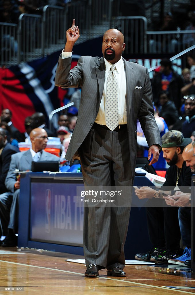 <a gi-track='captionPersonalityLinkClicked' href=/galleries/search?phrase=Mike+Woodson&family=editorial&specificpeople=213194 ng-click='$event.stopPropagation()'>Mike Woodson</a> of the New York Knicks coaches from the bench against the Atlanta Hawks on November 13, 2013 at Philips Arena in Atlanta, Georgia.