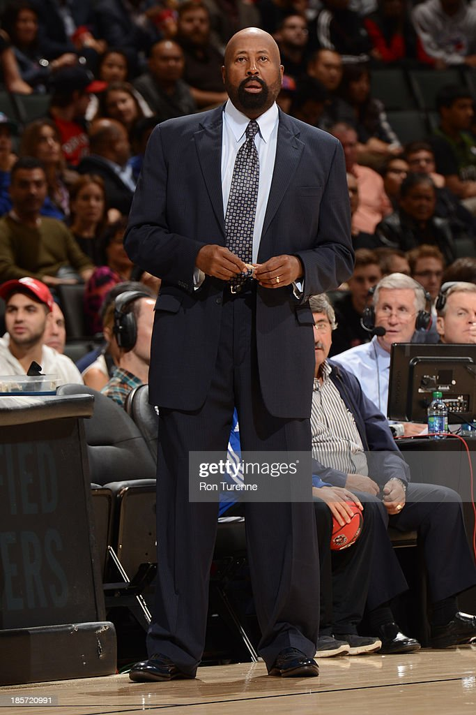 <a gi-track='captionPersonalityLinkClicked' href=/galleries/search?phrase=Mike+Woodson&family=editorial&specificpeople=213194 ng-click='$event.stopPropagation()'>Mike Woodson</a> of the New York Knicks coaches from the sideline against the Toronto Raptors during the game on October 11, 2013 at the Air Canada Centre in Toronto, Ontario, Canada.