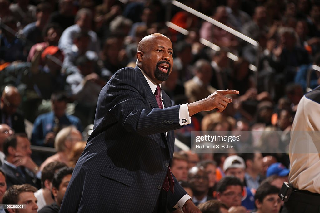 Mike Woodson of the New York Knicks during the game against the Indiana Pacers in Game Two of the Eastern Conference Semifinals during the 2013 NBA Playoffs on May 7, 2013 at Madison Square Garden in New York City.