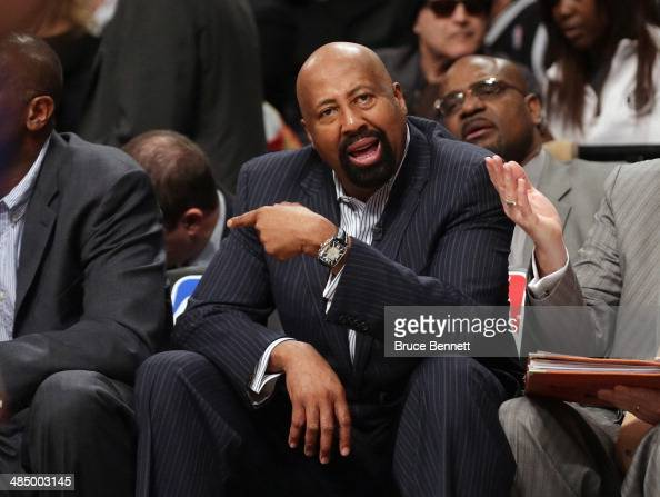 Mike Woodson of the New York Knicks handles bench duties during the game against the Brooklyn Nets at the Barclays Center on April 15 2014 in the...