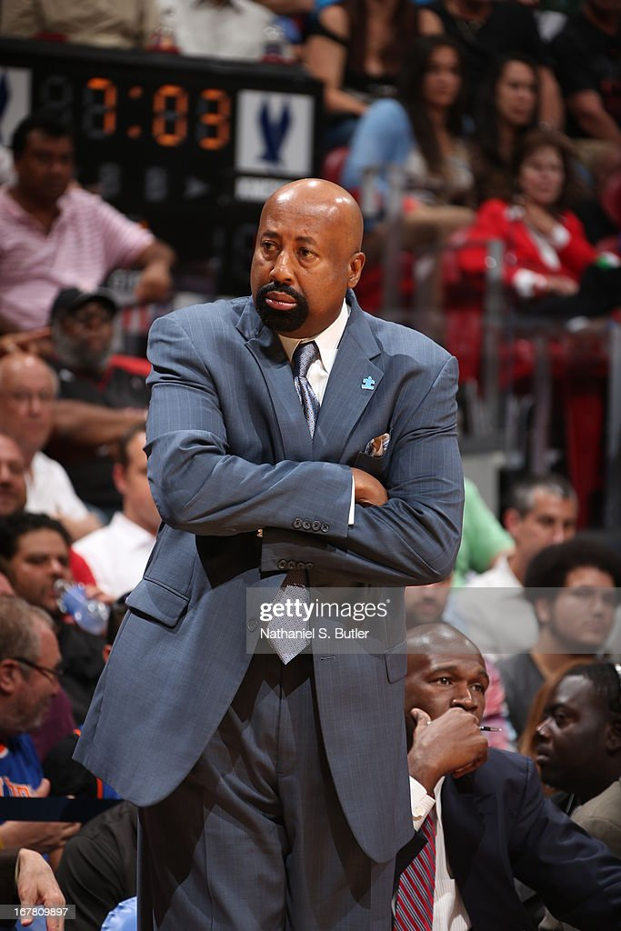 Mike Woodson of the New York Knicks looks on during the game against the Miami Heat on April 2, 2013 at American Airlines Arena in Miami, Florida.