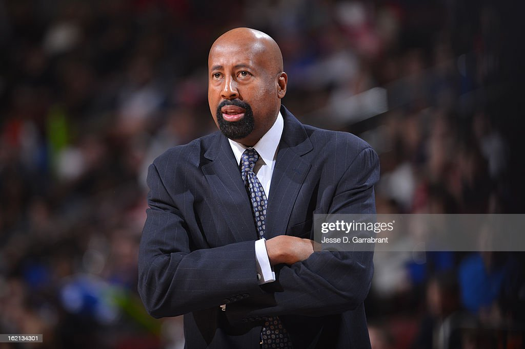 <a gi-track='captionPersonalityLinkClicked' href=/galleries/search?phrase=Mike+Woodson&family=editorial&specificpeople=213194 ng-click='$event.stopPropagation()'>Mike Woodson</a> of the New York Knicks looks on from the bench during the game against the Philadelphia 76ers at the Wells Fargo Center on January 26, 2013 in Philadelphia, Pennsylvania.