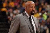 Mike Woodson of the New York Knicks walks off the court against the Indiana Pacers at Bankers Life Fieldhouse on January 14 2014 in Indianapolis...