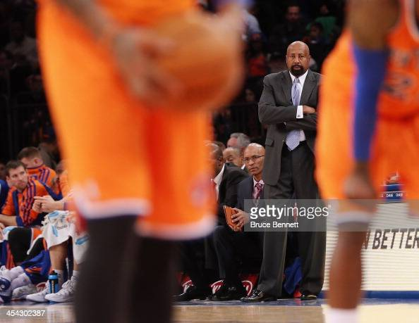 Mike Woodson of the New York Knicks watched his team during the third quarter against the Boston Celtics at Madison Square Garden on December 8 2013...