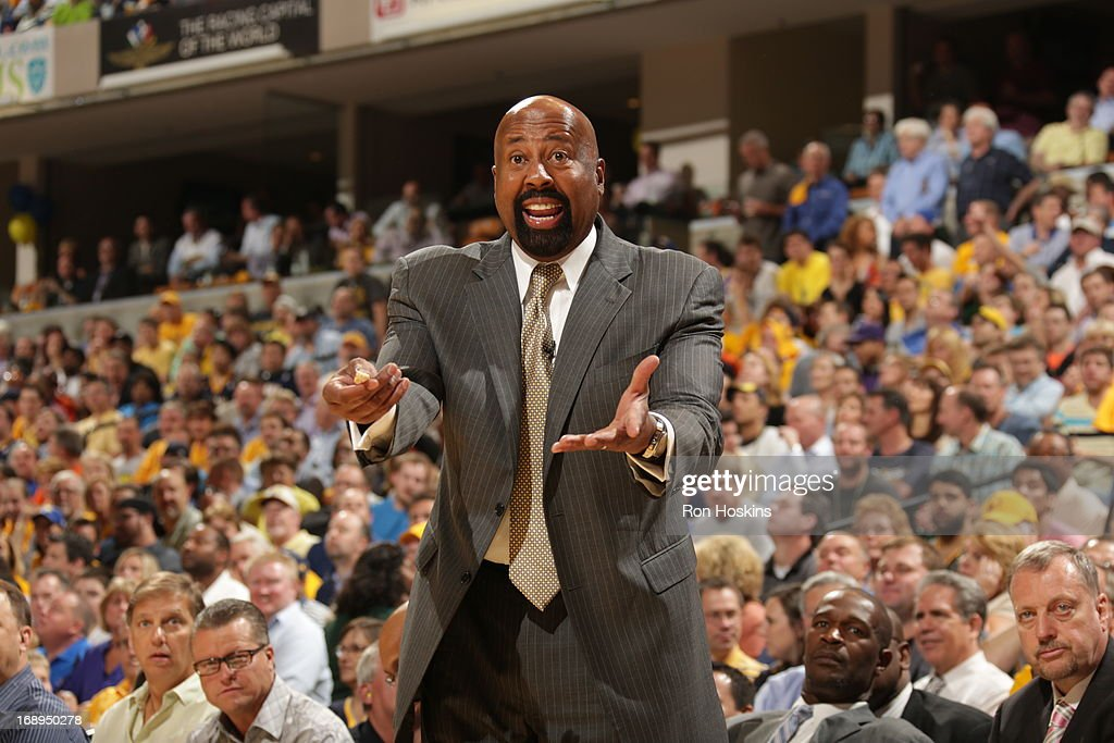 Mike Woodson of the New York Knicks yells during the game against the Indiana Pacers in Game Four of the Eastern Conference Semifinals during the NBA...