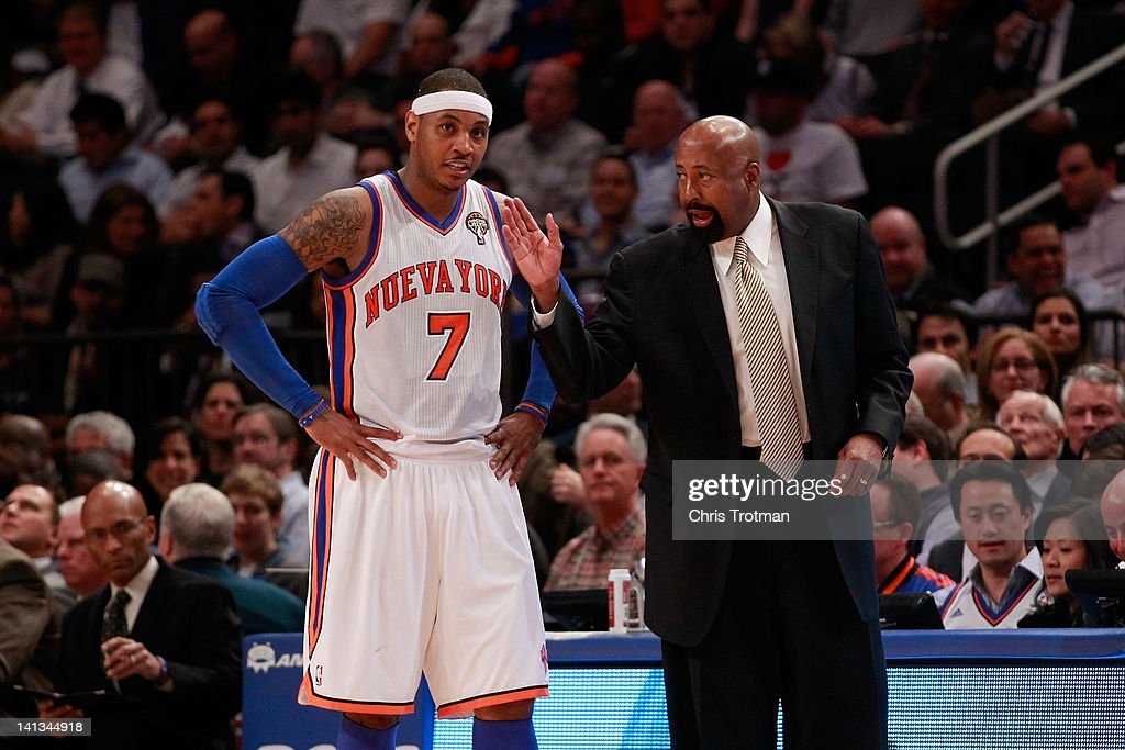 <a gi-track='captionPersonalityLinkClicked' href=/galleries/search?phrase=Mike+Woodson&family=editorial&specificpeople=213194 ng-click='$event.stopPropagation()'>Mike Woodson</a> the interim head coach of the New York Knicks coaches (L) <a gi-track='captionPersonalityLinkClicked' href=/galleries/search?phrase=Carmelo+Anthony&family=editorial&specificpeople=201494 ng-click='$event.stopPropagation()'>Carmelo Anthony</a> #7 of the New York Knicks during the game against the Portland Trailblazers at Madison Square Garden on March 14, 2012 in New York City.