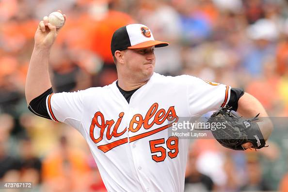 Mike Wright of the Baltimore Orioles pitches in major league debut in the first inning during a baseball game against the Los Angeles Angels at...