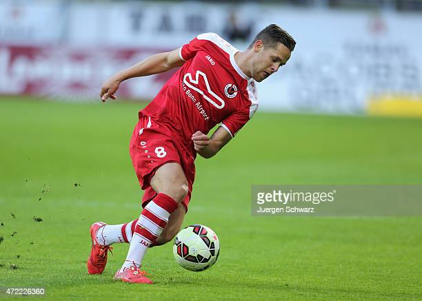 Mike Wunderlich of Cologne controls the ball during the Regionalliga West match between Alemannia Aachen and Viktoria Koeln at Tivoli Stadium on...