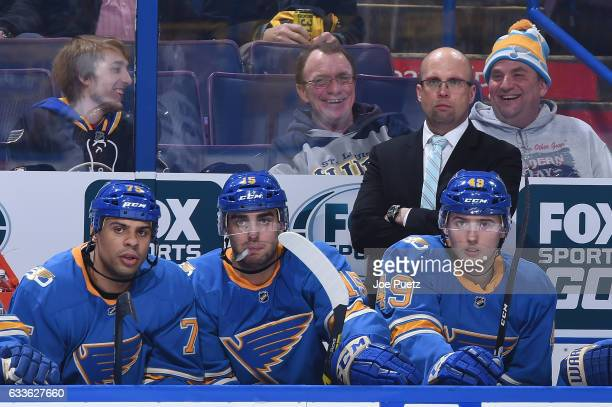 Mike Yeo head coach of the St Louis Blues looks on as his team plays the Toronto Maple Leafs on February 2 2017 at Scottrade Center in St Louis...